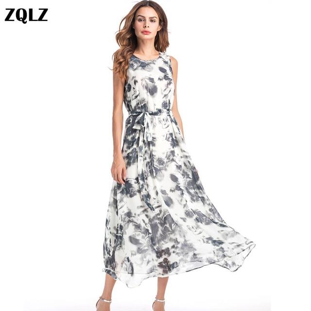 Zqlz 2018 Summer Beach Chiffon Long Dress Women O Neck Sleeveless Print Vintage Sexy Bohemian Dress Evening Party Dresses