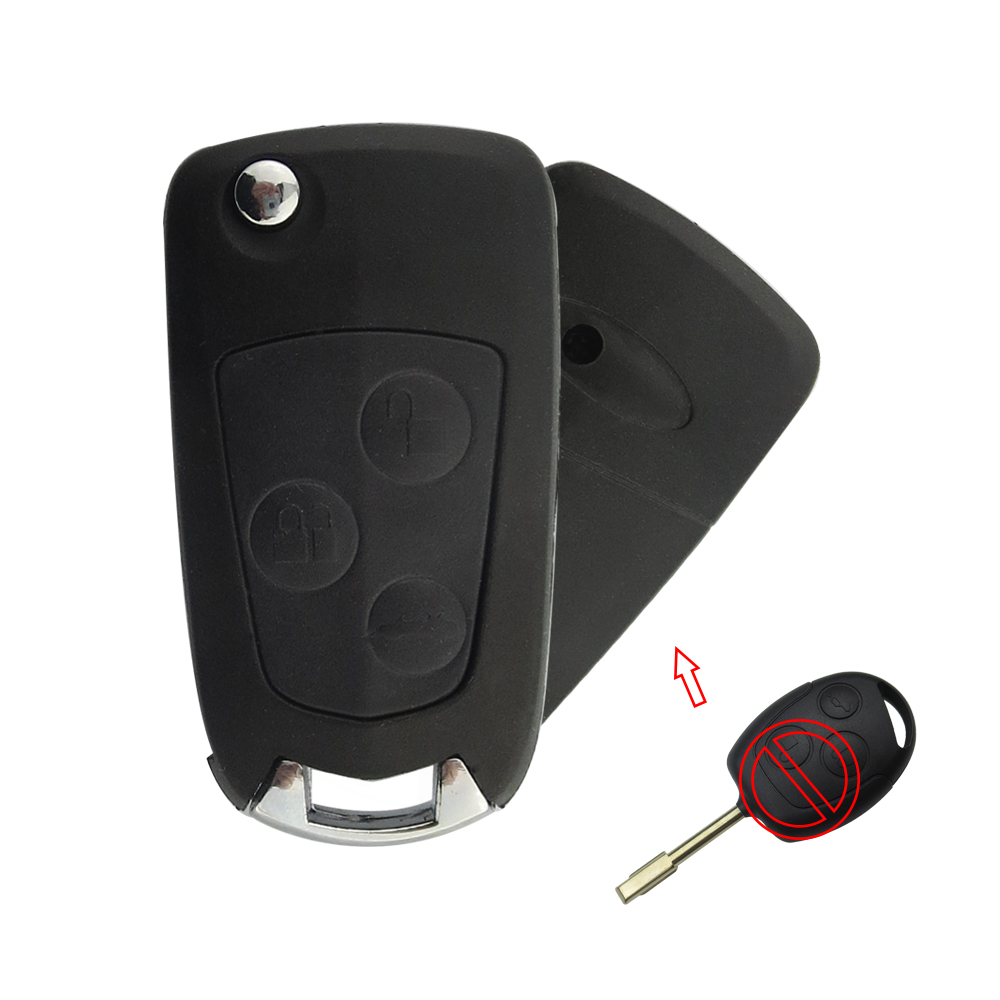 OkeyTech Modified Flip Folding Car Key Shell Blank 3 Button Replacement Remote Case Fob For Ford Focus Fusion Mondeo New Styling