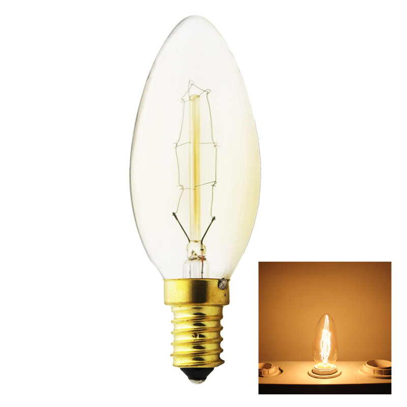 MengJay Tungsten vintage Edison lamp Dimmable 40W Carbon Art antique style light bulbs G35 Warm White E14 220V Halogen Bulbs