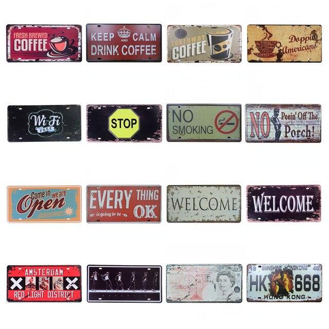 30*15cm karşılama kırmızı ışık bölge tabelalar sanat demir Vintage Metal boyama burcu plakası garaj lisans plakası poster Bar duvar C6