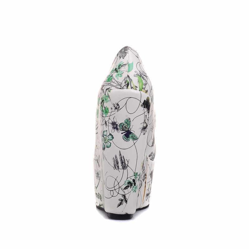 הדפס פרחוני פרחי 2017 נשים אופנה משאבות טריזי פלטפורמת Odetina גבירותיי טו עגולות גודל גדול נעליים של צד עקבים גבוהים קיצוניות 43