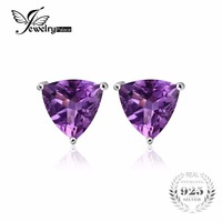 Charms 1 4ct Purple Amethyst Earrings Solid 925 Sterling Silver Earrings For Women Natural Stone Trillion