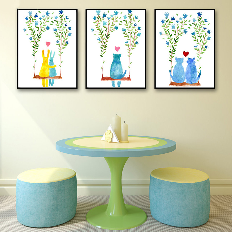 Home Decor Canvas Picture Art Decoration Cartoon Girl Room Wall Printing Cat Is On The Swing Paintings Modern Nordic Style Posters Creative Home & Garden