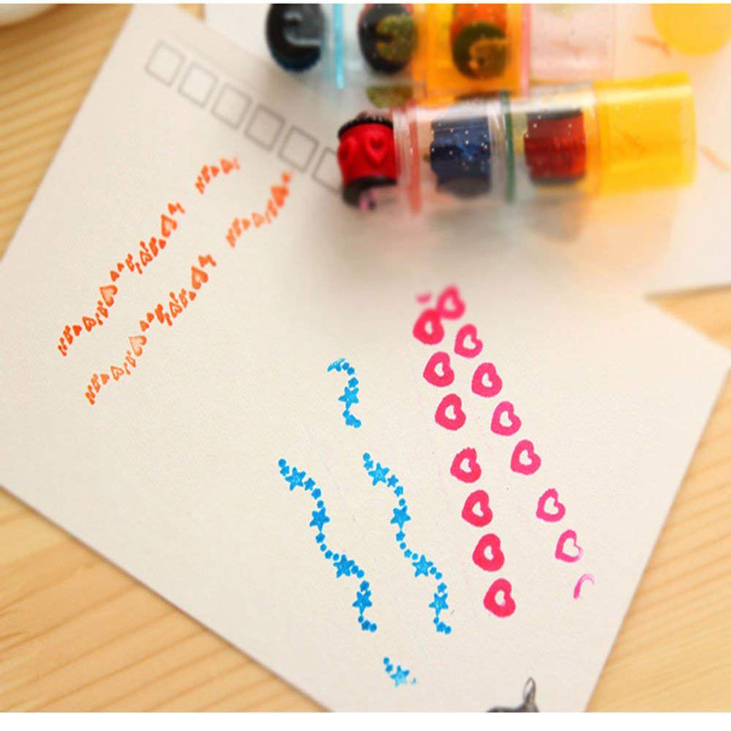 1 Pc Combination Stamp Pen Set DIY Handmade Scrapbook Cycle Roller Kids Photo Album Seal Students Toy Gift