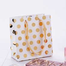 12pcs/pack Christmas Pouch Decoration Paper Portable Party Favor With Handles Polka Dot Celebration Gift Bag Tote Present polka dot tote chain bag