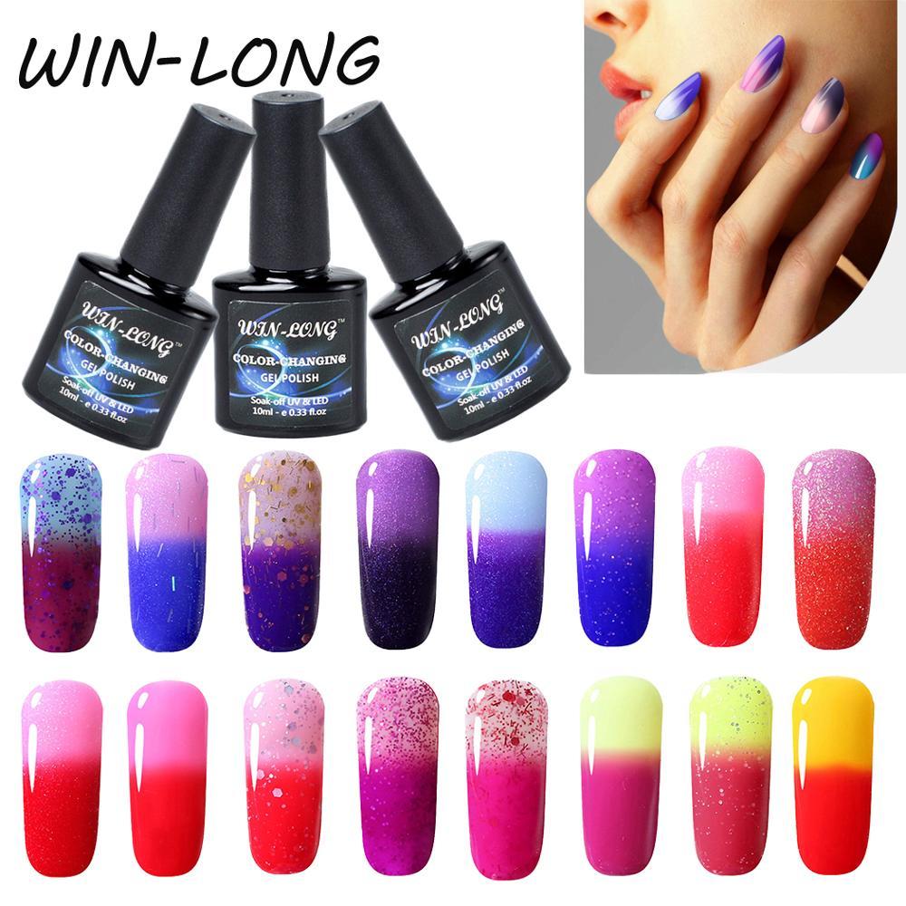 10ml Temperature Color-changing Fur Gel Polish Long Lasting WIN-LONG UV LED Gel Varnishes Semi Permanent Gel Nail Polish Lacquer