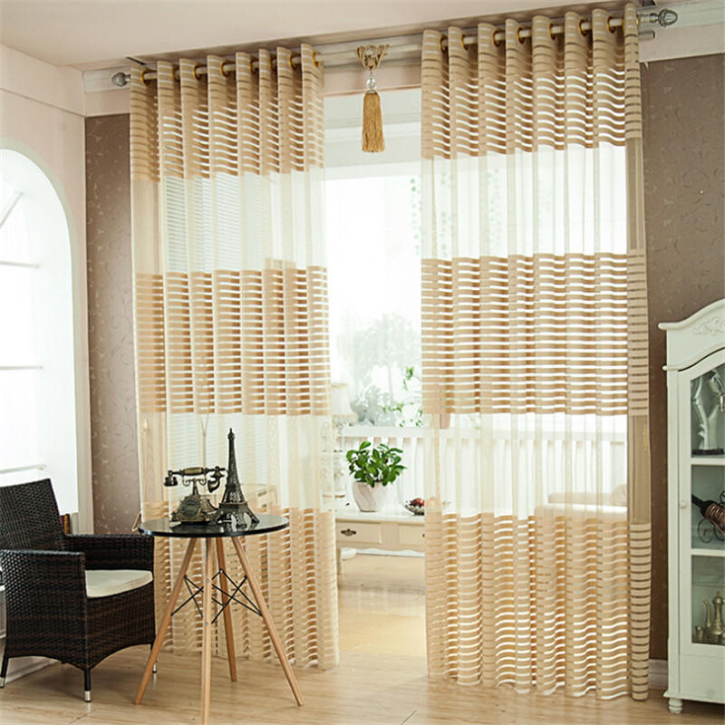 BHD Striped Tulle Sheer For Window Curtains Living Room The Bedroom Doors Modern Fabric Blinds Drapes