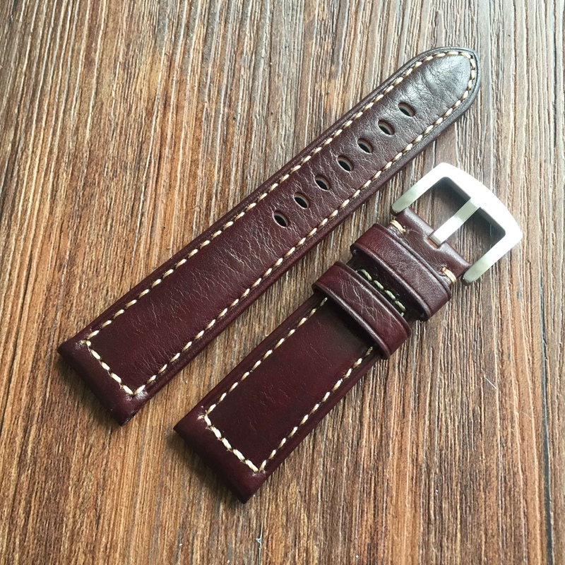 luxury High end Men 22mm 24mm Straps Handmade Italian Brown Vintage Genuine Leather Watch Band Strap Watchband Strap for PAM new arrive top quality oil red brown 24mm italian vintage genuine leather watch band strap for panerai pam and big pilot watch