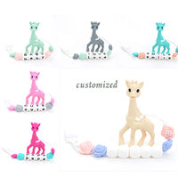 Silicone Giraffe Teething Pendant Pacifier Clip Giraffe Teether Toy Food Grade Jewelry Teething Baby Carrier Teething