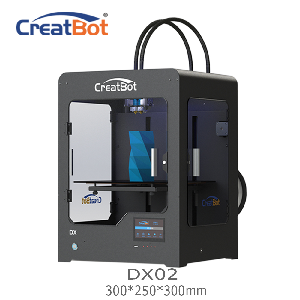 DX02 300*250*300 mm Dual Extruder CreatBot 3D Printer  Metal Frame FDM Large Printer  Best Selling  DIY  2KG PLA ABS for free