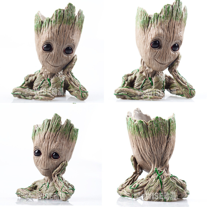 Cute Tree Man Baby Anime Action Figure Dolls Penholder Grunt Guardians of The Galaxy 2 Model Hero pen pot and flower pot Toys grunt movie tree man baby action figure hero model guardians of the galaxy model toy desk decoration gifts for kid grootted