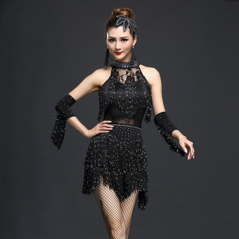 New Style Latin Dance Dress Women Competition Dress 1Pcs Tassel Milk Silk Fantasiaculina Para Adulto Robe Salsa Adulte Suits