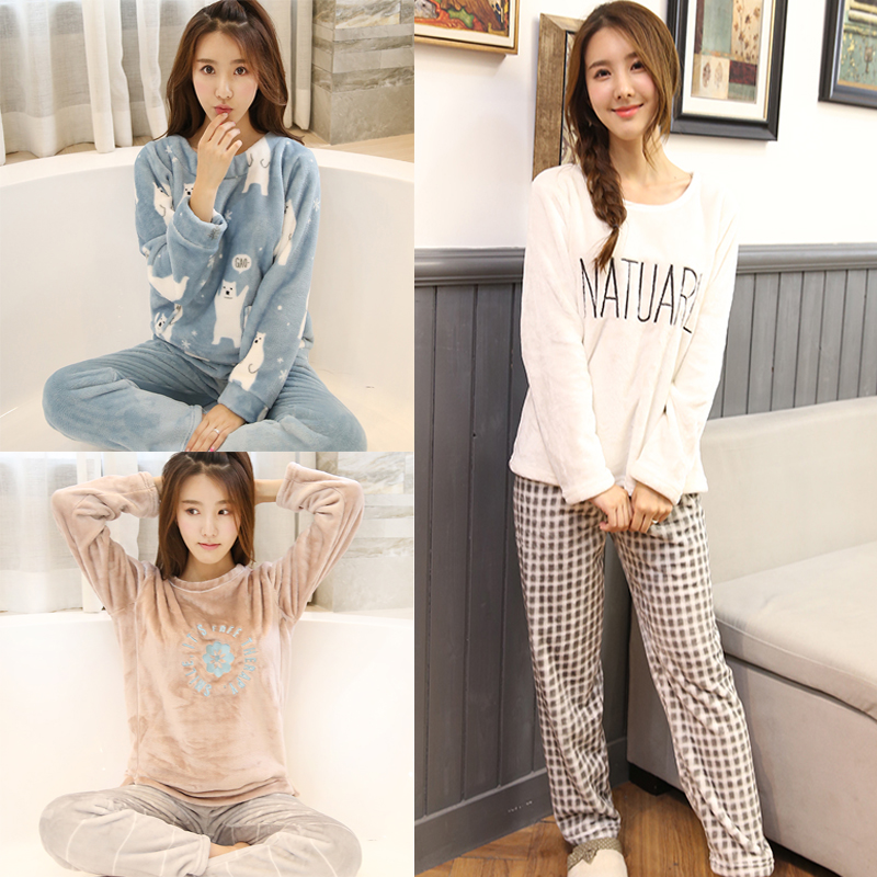 2PCS/Lot Autumn Winter Thick Women Pyjamas Sets Sleepwear Suit Pajamas Flannel Warm Cartoon Animal Cute Pijama Bear Sleepwear