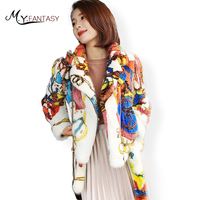 M.Y.FANSTY 2017 Shaba Winter Women's Print Flower Mink Full Sleeve Coat Turn Down Collar Real Fur Coat Colorful Short Mink Coats