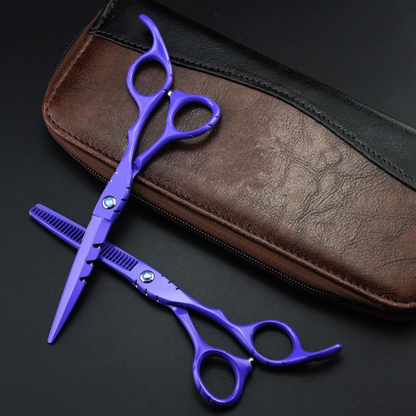Professional Japan 440c 6 & 5.5 Inch Purple Hair Scissors Thinning Shears Cutting Barber Tools Cut Scissor Hairdressing Scissors