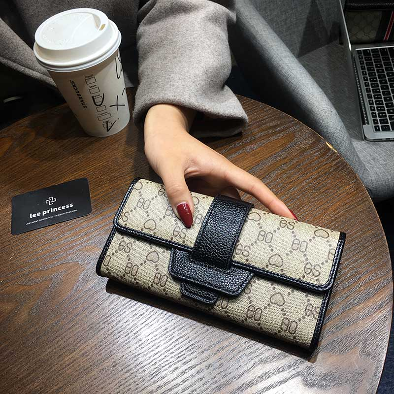 AOEO New Korean Ladies Wallets Fashion Long Short Three Fold Clutch Bag Multi Function Buckle Zip Coin Purse Women Wallet Female in Wallets from Luggage Bags