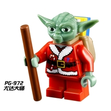 Single Sale star wars superhero Christmas Santa Yoda building blocks model bricks toys for children brinquedos