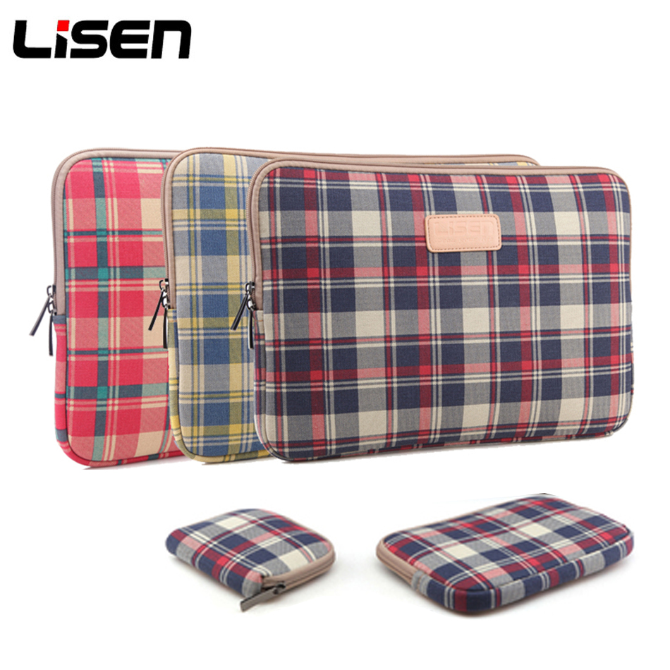 Plaid Laptop Liner Sleeve & Power Pouch Notebook Tablets Case for Funda Apple iPad Macbook For Xiaomi Lenovo HP Laptops