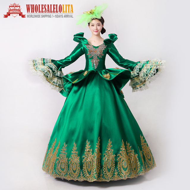 3f34af2b124d Royal Green Embroidery Vampire Queen Masquerade Ball Gown Marie Antoinette  Southern Belle Dress Theatrical Clothing