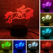 amroe Riding Horse Man 7 Color 3D Visual Led Night Lights Kids Touch Usb  Table de082c726c1a