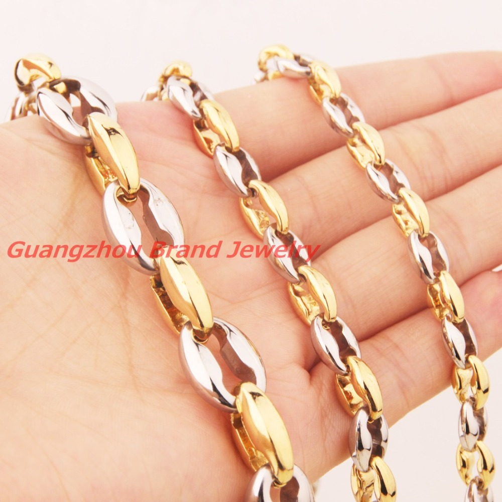 Wholesale Retail! 7-40 Length 6/8/10/12mm 316L Stainless Steel Silver Gold Coffee Beads Bean Chain Neklace Bracelet Men Womens
