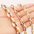 "Wholesale\ Retail! 7-40"" Length 6/8/10/12mm 316L Stainless Steel Silver Gold Coffee Beads Bean Chain Neklace Bracelet Men Womens"