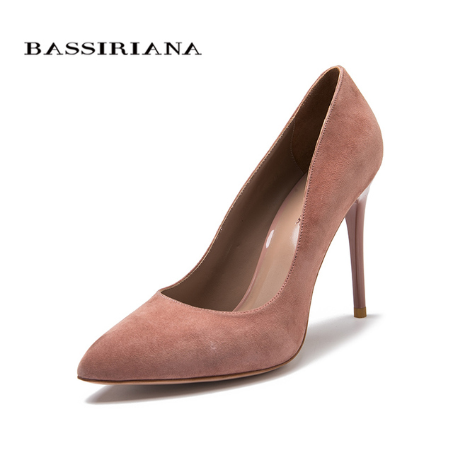 High heels pumps Natural suede leather New spring summer 2017 Red Black 35-40 Fashion Basic shoes woman Free shipping BASSIRIANA 6