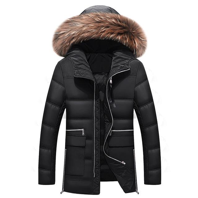 Envío libre 2016 de invierno chaqueta de cuello de piel larga chaqueta con tamaño M-3XL