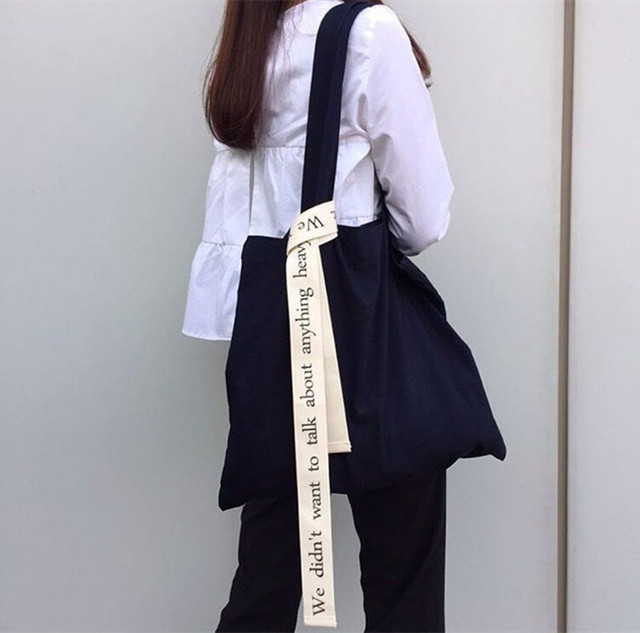 YILE Cotton Canvas Two Strap Shoulder Bag Shopping Tote Print Letter White Strap 17196zt