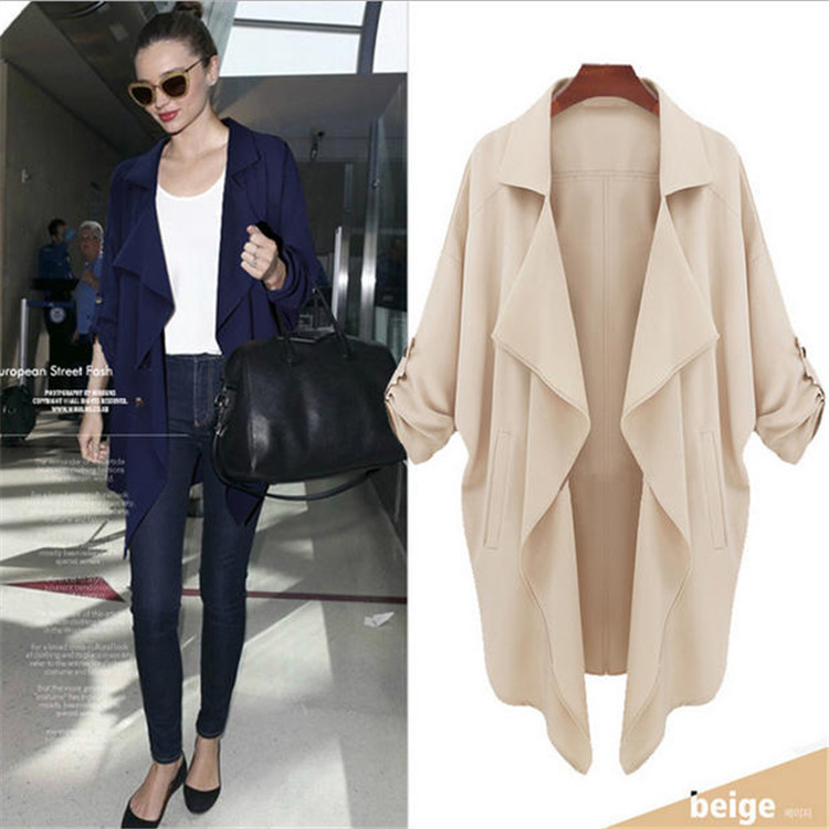 Women Trench Coat Long Sleeve Casual Beige Cardigan 2018 Autumn Winter New Loose Outerwear Fashion Plus Size Long Windbreaker