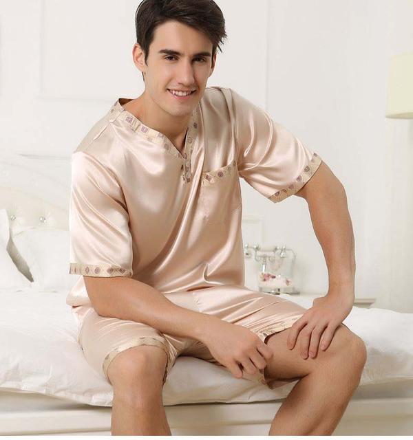 Conjuntos de Homens de Pijama de verão de Manga Curta Bordado Sleepwear Moda Imitação Rayon Roupa de Dormir