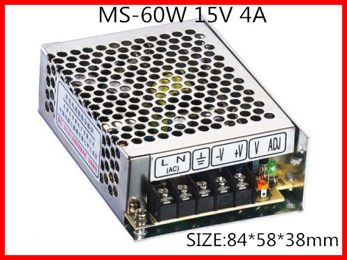 60W 15V 4A Compact Single Output Switching power supply for LED Strip light  AC-DC Free Shipping 145w 24v 6a single output switching power supply for led strip light ac to dc smps