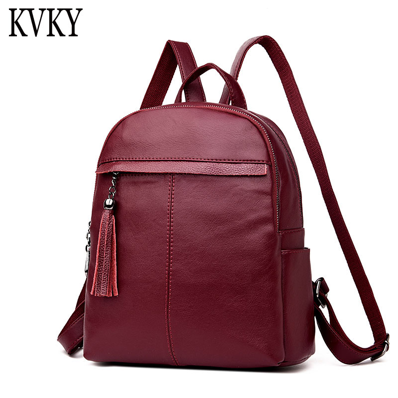 все цены на Fashion Leisure Women Bag Tassels Backpack High Quality PU Leather Mochila School Bags For Teenagers Girls Female Backpacks