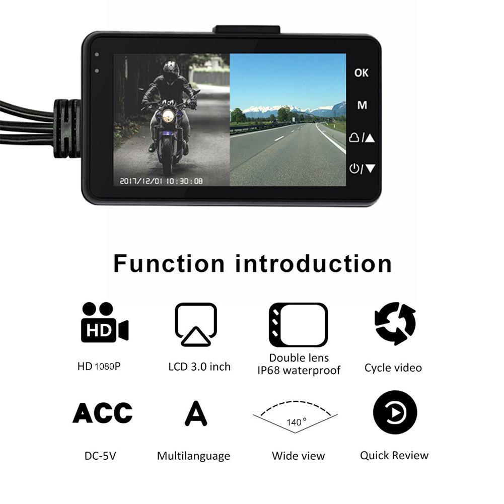 3 pouces 1080 P HD moto enregistreur de conduite étanche Double miroir