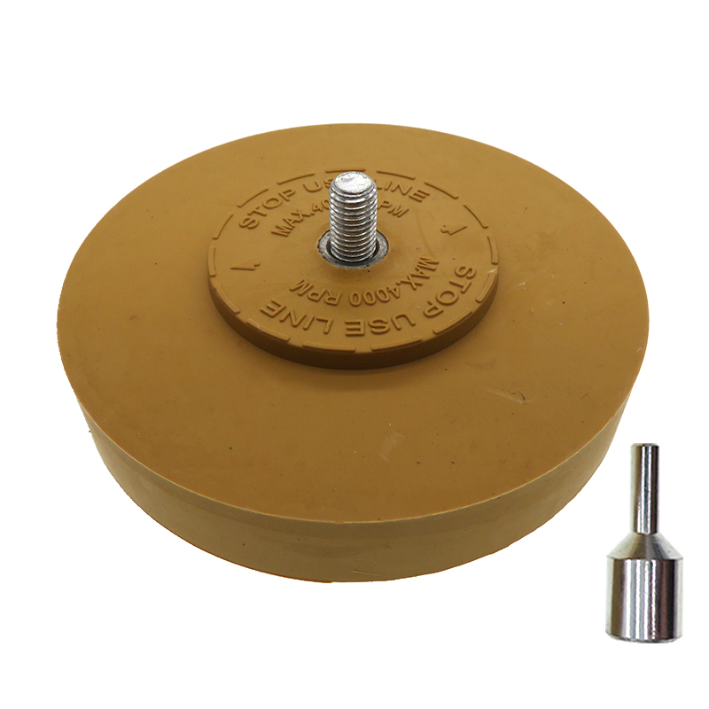 """4"""" Rubber Eraser Wheel For Adhesive, Sticker, Pinstripe, Decal And Graphic Remover With 1/4"""" Shank Drill Adapter"""