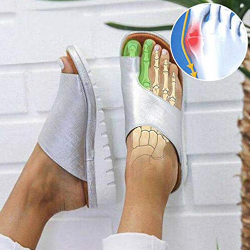 New Women Comfy Feet Correct Platform Sandal Shoes Thickened Street PU Leather Dating Shopping Flat Sole Women Sandal