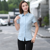 Large size women's wear short sleeve shirt women's fat mm large size work clothes white shirt 100KG summer clothes