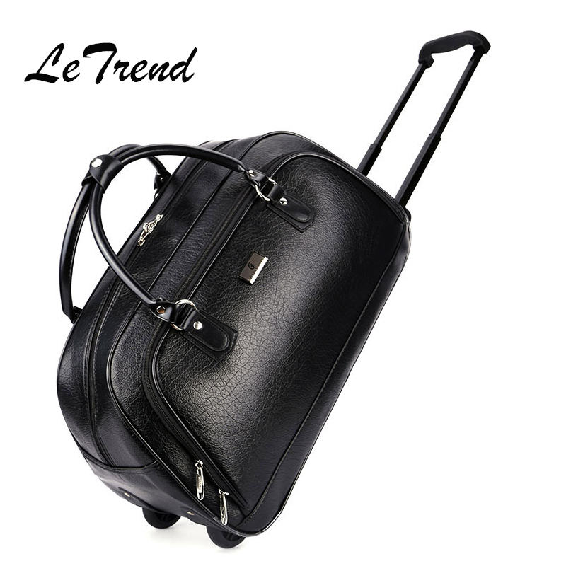 LeTrend PU Leather Large Capacity Trolley Rolling Luggage Caster Men Travel Bag Suitcase Wheel Business Carry On Bags Handbag universal uheels trolley travel suitcase double shoulder backpack bag with rolling multilayer school bag commercial luggage