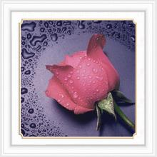 DIY Needlework Simulation Diamond Cross-Stitch, Rose Pattern Rhinestone Diamond Drawing