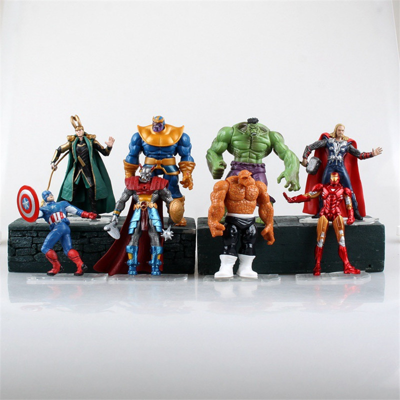 Movie Super Hero Avenger Iron Man Captain America Thor Hulk Figurine Robot Brinquedos PVC Action Figure Juguetes Kids Toys 2017 new avengers super hero iron man hulk toys with led light pvc action figure model toys kids halloween gift