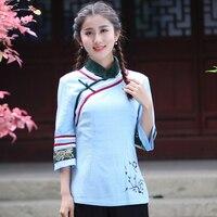 Hot New Blue Cotton Linen Women Shirt Chinese Style Mandarin Collar Tops Fashion Flower Blouse Size