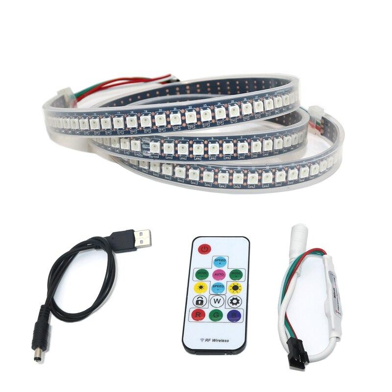 USB Alimenté 5 v WS2812 IC WS2812B RGB LED light Strip 144 led/m 5050 SMD Couleur Changeante Pour fond TV PC Retour Éclairage D'ambiance