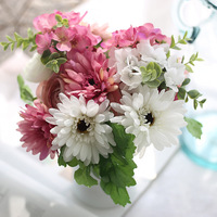 Silk flower wedding bouquet Hydrangea daisy Artificial flowers fall vivid fake leaf wedding flower bridal bouquets decoration
