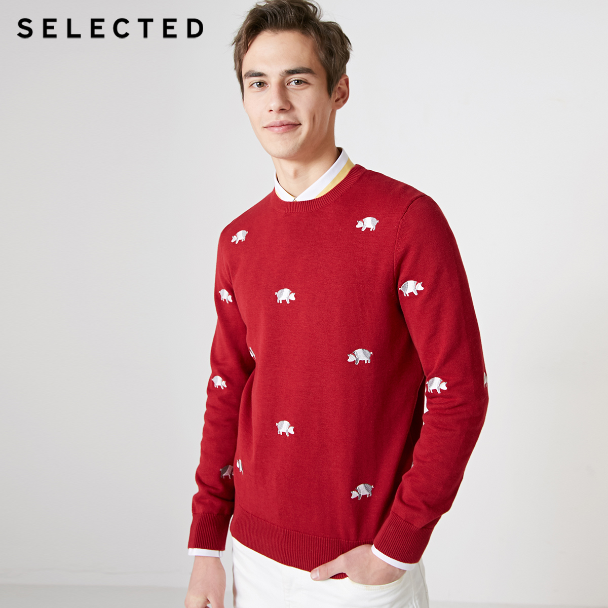 SELECTED Men's Spring Zodiac Print Pullover Knitted 100% Cotton Casual Sweater Clothes S | 419124551