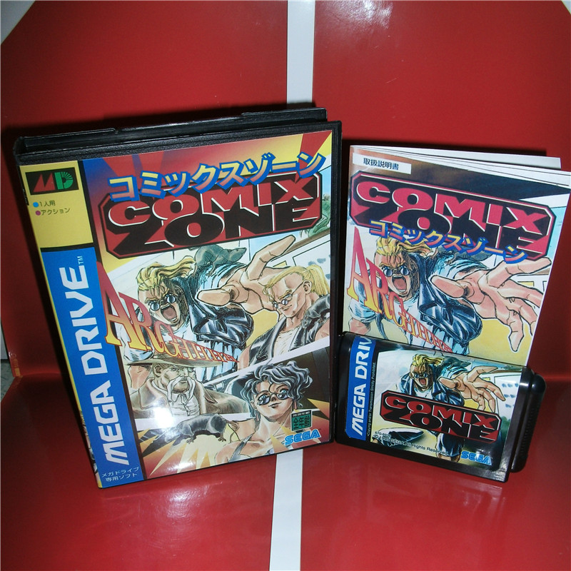 Comix Zone Japan Cover NTSC-J Available with Box and Manual for MD MegaDrive Genesis Video Game Console 16 bit MD card