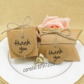 100pcs Kraft Paper Pillow/Square Candy Box Rustic Wedding Favors Candy Holder Bags Wedding Party Gift Boxes with thank you tags