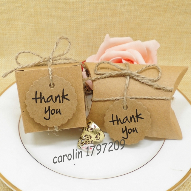 100pcs Kraft Paper Pillow Square Candy Box Rustic Wedding Favors Holder Bags Party