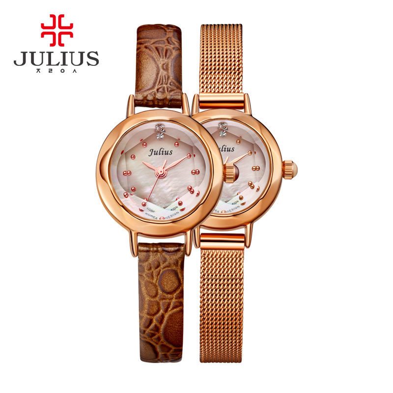 ФОТО Lady Women's Watch Mother of Pearl Japan Mov Hours Top Fashion Dress Bracelet Steel Leather Mini Girl Children Gift Julius Box