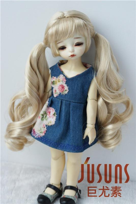 где купить JD330 1/6 1/4 1/3 Pretty Synthetic mohair BJD wigs YOSD MSD SD Long double pony country girl doll hair Fashion doll accessories по лучшей цене