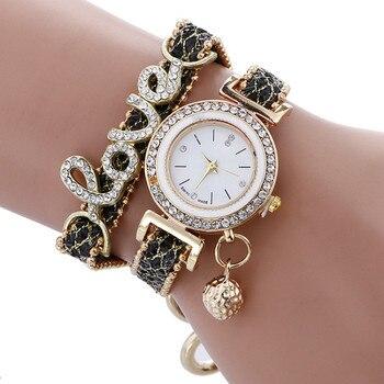 Top Fashion Women Bracelet Watches with LOVE Letters 2 Layer PU Leather Strap Quartz Wristwatches Ladies Dress Watch
